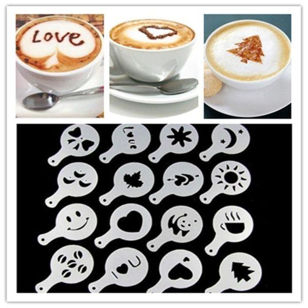 16PCS/set Cafe Foam Spray Template Barista Stencil Decoration Tool Garland Mold Coffee Printing Powdered Sugar Sieve Accessories